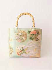 Nishijin-brocade tote bag(B) with bamboo handle