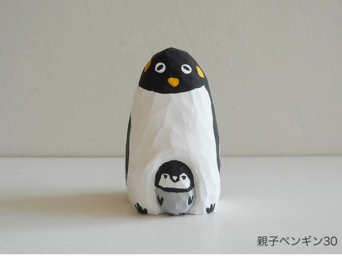 Wood carving : Penguin parent and child