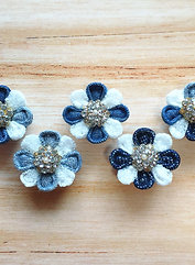 🌼🍀balmy floral earings with denim & lace fabric🌼🍀✨