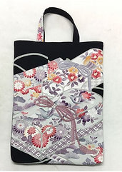 Kimono remake tote bag : Japanese apricot and bird