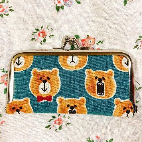 Flame coin purse : Barking bear (blue)