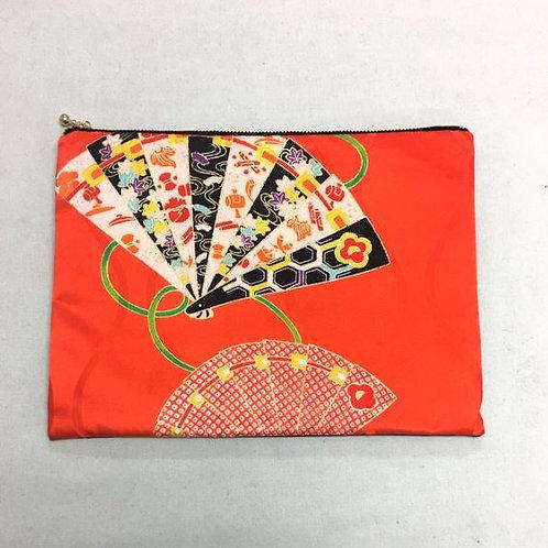 Kimono remake flat pouch : vermilion and Sensu(folding fan)