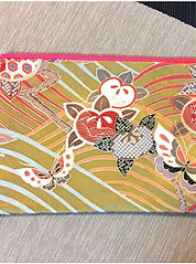 Kimono remake flat pouch : flowers and grasses