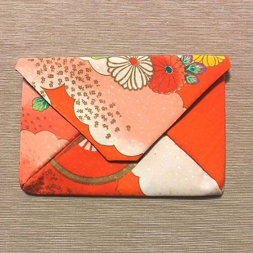 Kimono remake pouch for goshuin-cho: Momiji(maple leaf) and peony