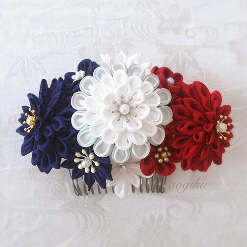 "Flower comb of Tsumami-zaiku""Tricolor"""