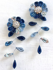 magical floral earings opend up in denim country