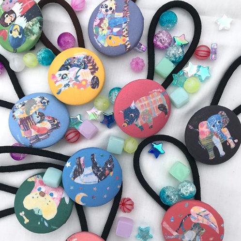 Animal button hair accessory