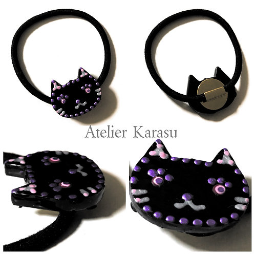 Black cat hair accessory