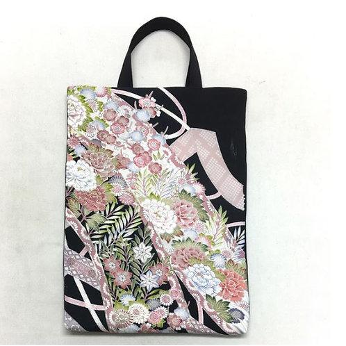 Kimono remake tote bag : flowers and ribbon