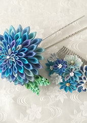 "Flower comb of Tsumami-zaiku""Blue flower bouquet"" set"