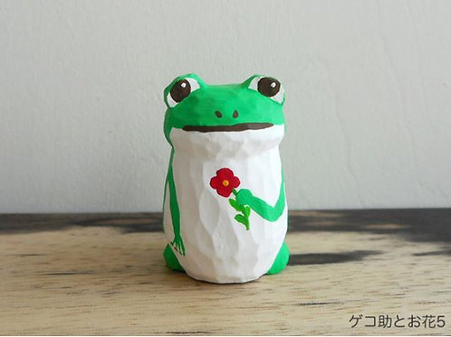 Wood carving : Geko-suke with little flower