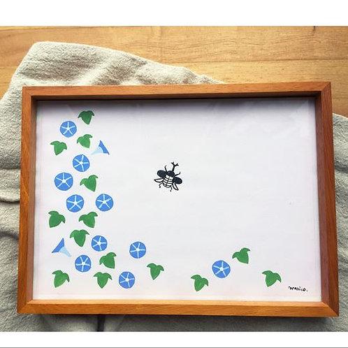 Original drawing : Japanese morning glory and Japanese rhinoceros beetle