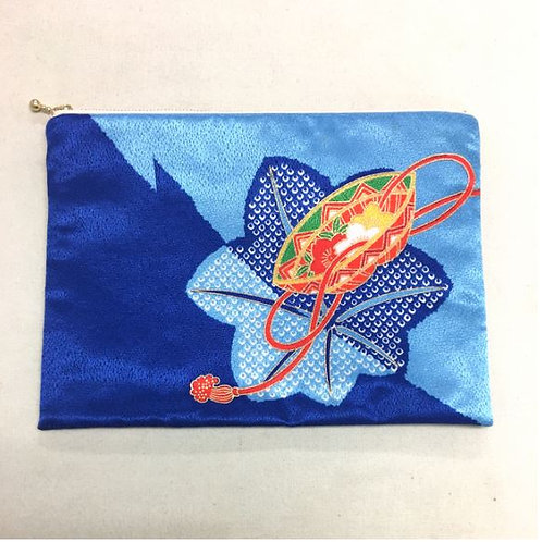 Kimono remake flat pouch : blue Momiji (maple leafs)
