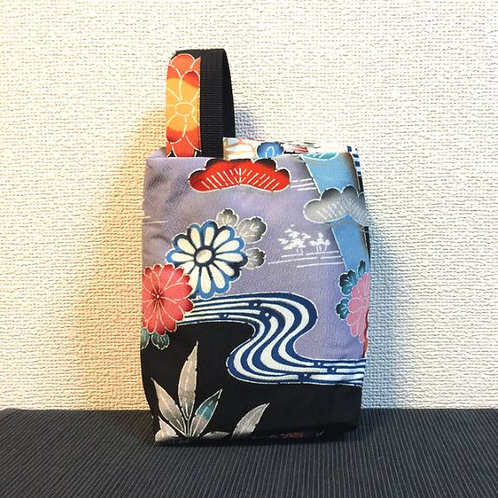 Kimono remake porch with handle : flower and river / red
