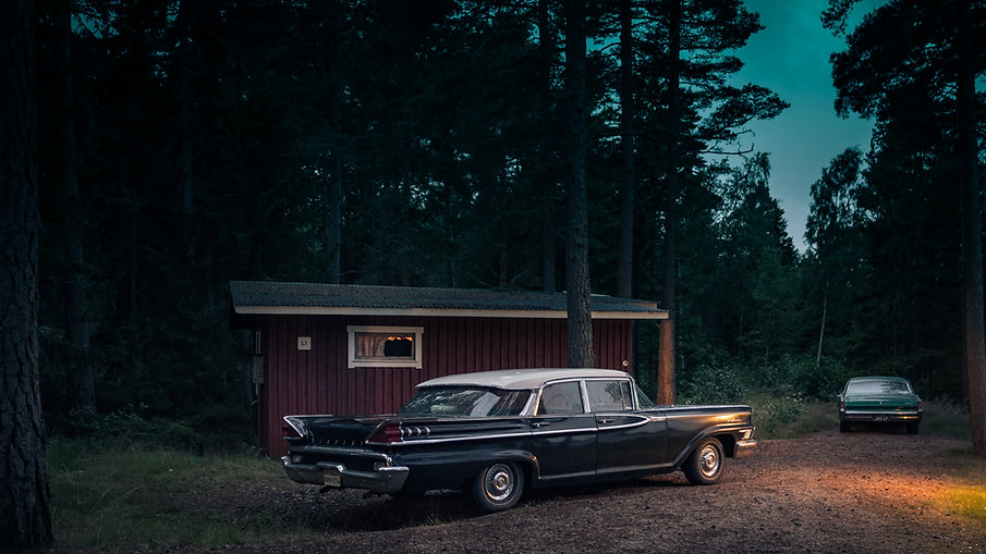 Vintage car during the blue hour in Finland