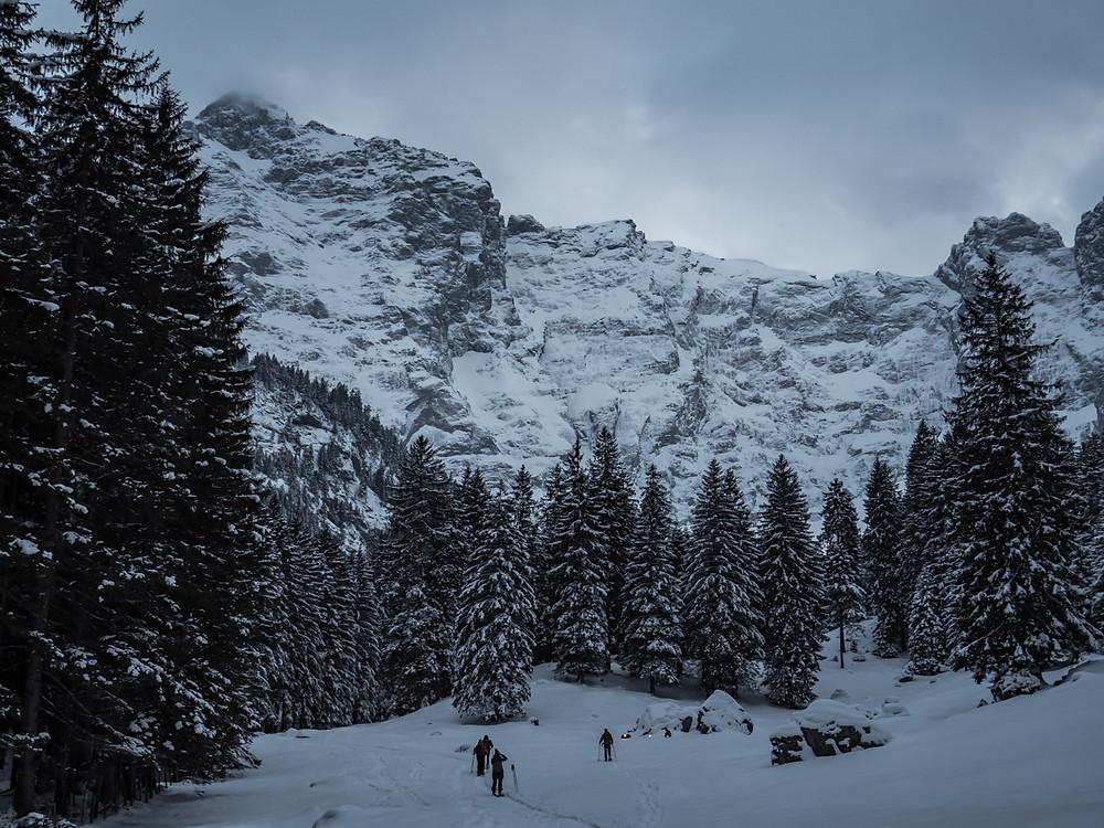Das Tal trifft auf die Felswand - Brunnital