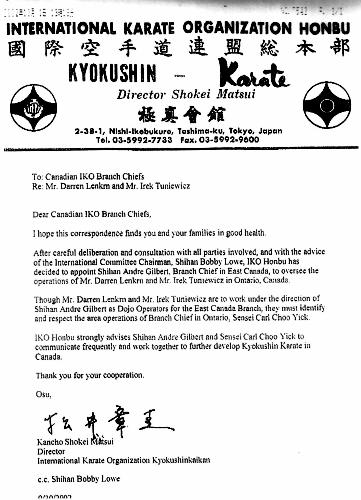 Honbu Letter Granting our Dojo