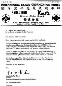 Honbu Letter Granting our Dojo