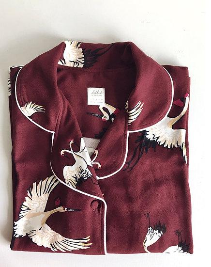 Pijama Bordo Pássaros