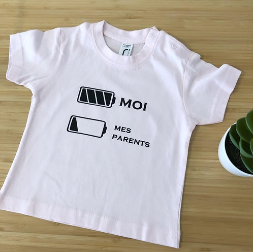 """Tee-shirt """"batterie"""" 6/12 mois"""