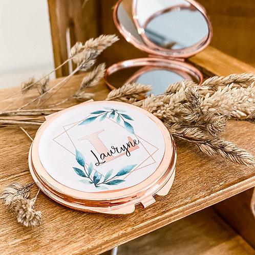 Miroir de poche Gold Rose- personnalisé