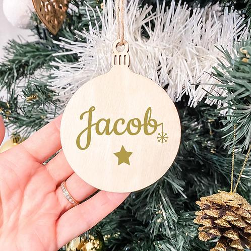 Boule de Noël en bois - étoile