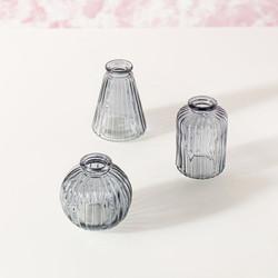 GLEE064 Grey Glass Bud Vases