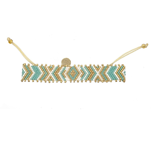 Woven Beaded Bracelet Aqua / Gold
