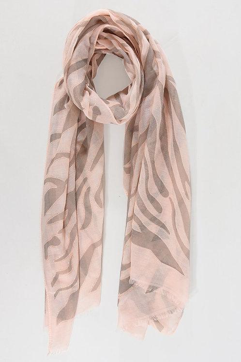 Zebra Print Light Pink Scarf