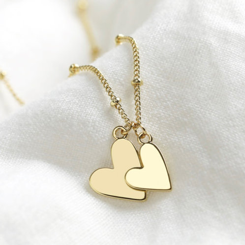 Double Hearts Necklace Gold