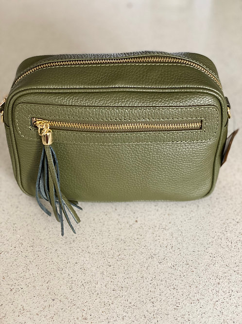 Single Zip and Tassle Leather Cross Body Bag - Olive Green