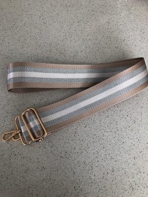 Bag Strap - Taupe/Silver Stripe