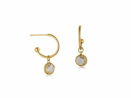 Crystal Round Stone Tiny Hoop Earrings