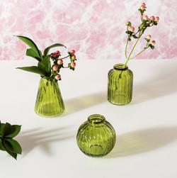 GLEE065 Olive Green Glass Bud Vases