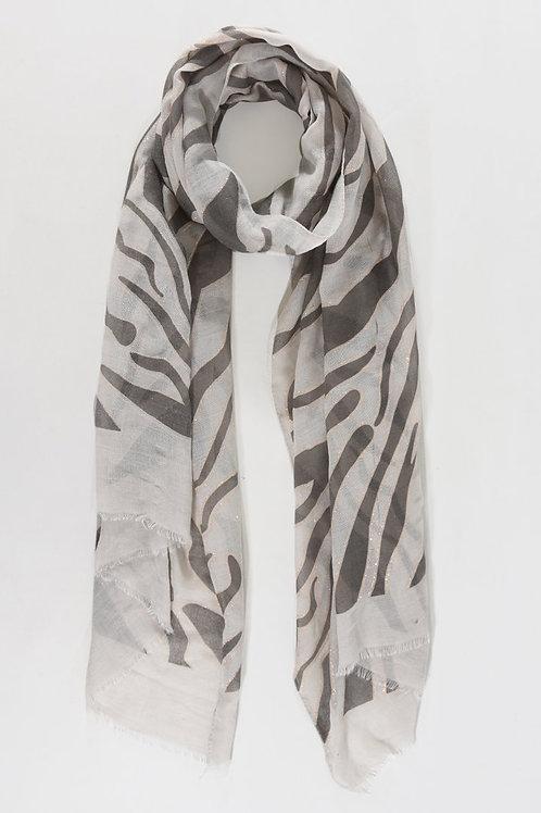 Zebra Print Light Grey Scarf