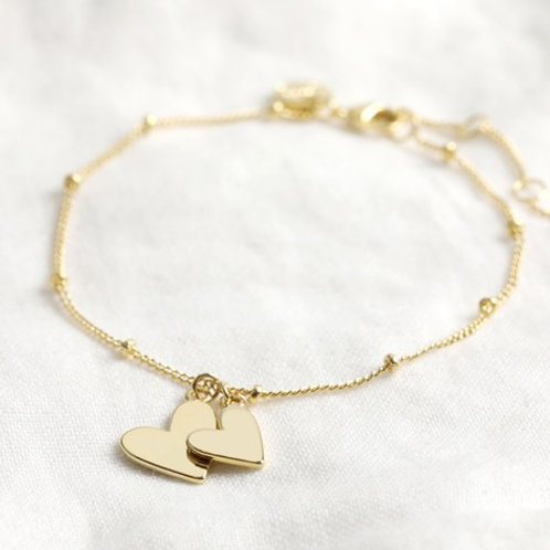Double Hearts Bracelet Gold