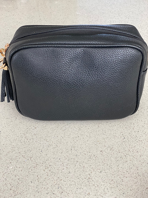 Single Zip Cross Body Bag - Black