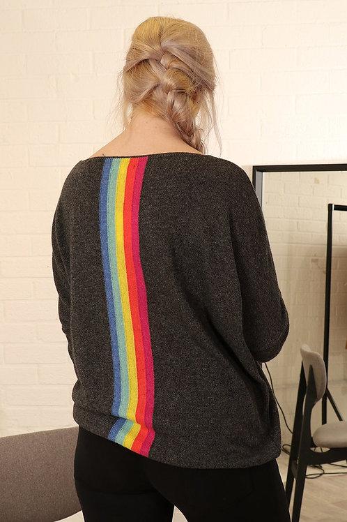 V Neck Top Dark Grey - Rainbow Back