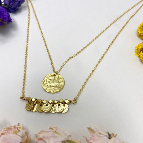 Double Row Necklace Discs Gold