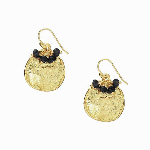 22 Carat Gold Plated Earrings Black Onyx
