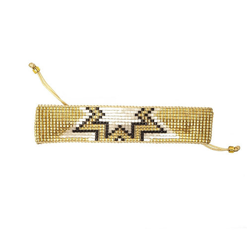 Woven Bead Bracelet Gold with Stars