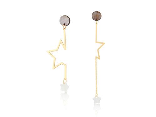 Asymmetric Shell Star Earrings