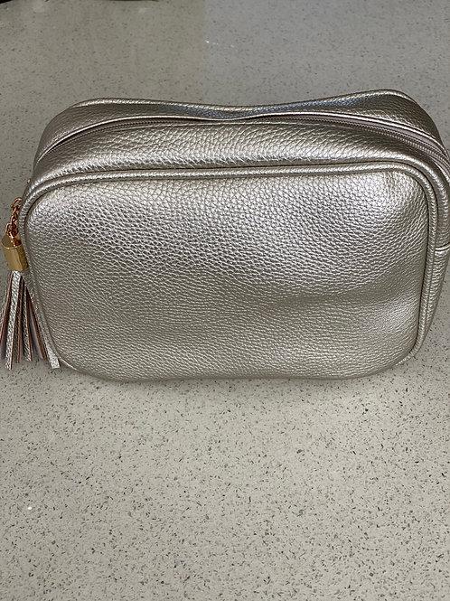 Single Zip Cross Body Bag - Silver