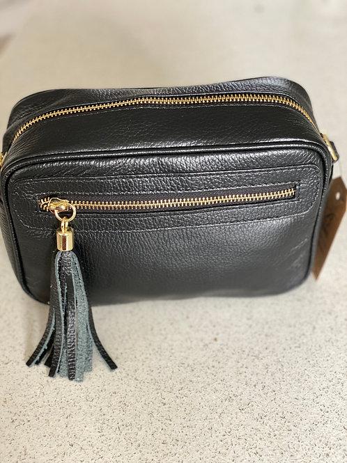 Single Zip and Tassle Leather Cross Body Bag - Black