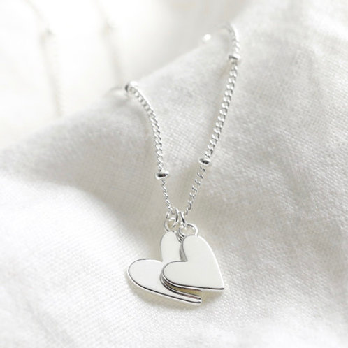 Double Hearts Necklace Silver