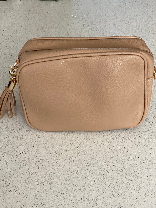 Single Zip Cross Body Bag - Taupe