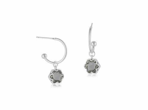 Crystal Pear Stone Tiny Hoop Earrings