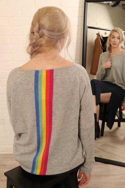 V Neck Top Light Grey - Rainbow Back