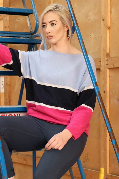 Pale Blue / Navy / Fusia Pink Top