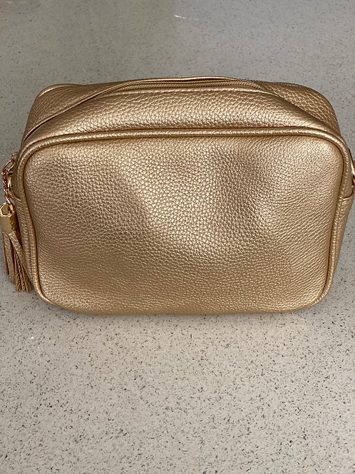 Single Zip Cross Body Bag - Gold